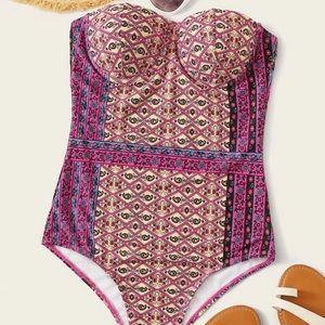 Tribal one piece swimsuit bandeau